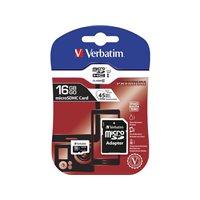 VERBATIM Tarjeta de memoria micro SDHC premium de 16 GB con adaptador SD clase 10 44082, (1 u.)