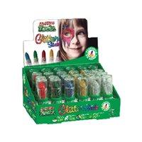 ALPINO Expositor maquillaje Glitter Stick 24 ud Colores surtidos Sistema retractil DL000074, (1 u.)