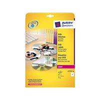 AVERY CAJA 25 HOJAS ETIQUETAS DVD - LASER - DIAMETRO 117MM BLANCAS L7776-25, (1 u.)