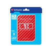 VERBATIM Disco duro portátil USB 3.0 Store 'n' Go GEN2 1TB 2,5'' rojo 53203, (1 u.)