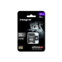 INTEGRAL Tarjeta de memoria micro SDHC UltimaPro de 32 GB con adaptador SD clase 10 INMSDH32G10-90U1, (1 u.)