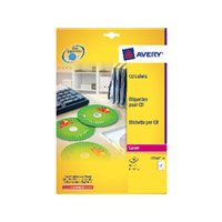AVERY Etiquetas Multimedia para CD/DVD Caja 25 ud 117 mm Laser Glossy L7760-25, (1 u.)