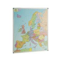 FAIBO Mapa de Europa 119x93 Magnetico Plastificado  Marco Alumnio 163, (1 u.)