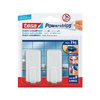 TESA Menaje Powerstrips 2 ganchos+4 tiras Para fijar en el hogar hasta 2Kg 58010-00045-01, (6 u.)