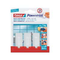 TESA Menaje Powerstrips3 ganchos+4tiras Para cualquier lugar del hogar hasta 1kg 57530-00014-01, (6 u.)