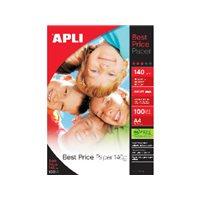 APLI Papel inkjet Best Price Paquete 100 hojas A4 140 g Brillo 11804, (1 u.)