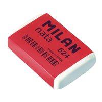 MILAN Goma de borrar CPM624 Plastica Blanca Para lapiz, papel y papel vegetal CPM624, (24 u.)
