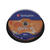 VERBATIM DVD-R Advanced AZO bobina pack 10 ud 16x 4,7GB 120 min 43523, (1 u.)