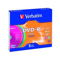 VERBATIM DVD-R Advanced AZO slim pack 5 ud 16x 4,7GB 120 min 43557, (1 u.)