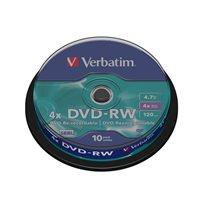 VERBATIM DVD-RW Advanced SERL bobina pack 10 ud 4x 4,7GB 120 min 43552, (1 u.)