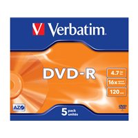 VERBATIM DVD-R Advanced AZO pack caja 5 ud 16x 4,7GB 120 min 43519, (1 u.)