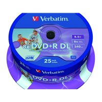 VERBATIM DVD+R Advanced AZO bobina pack 25 ud 8x 8,5GB 240 min 43667, (1 u.)