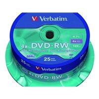 VERBATIM DVD-RW Advanced SERL bobina pack 25 ud 4x 4,7GB 120 min 43639, (1 u.)