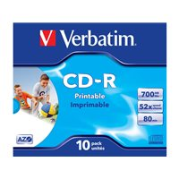 VERBATIM CD-R  Super AZO Crystal pack caja 10 ud imprimible 52x 700MB 80min 43325, (1 u.)