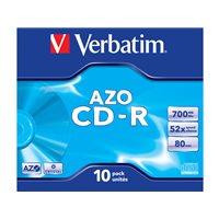 VERBATIM CD-R  AZO Crystal pack caja 10 ud 52x 700MB 80min 43327, (1 u.)