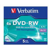 VERBATIM DVD-RW Advanced SERL pack caja 5 ud 4x 4,7GB 120 min 43285, (1 u.)