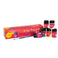 LA PAJARITA Pinturas   Caja 6 Ud Satinada agua + Pincel Div colores PTE, (1 u.)