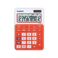 CASIO Calculadora sobremesa MS-20NC 12 digitos Calculo tasas Naranja Pantalla extragrande MS-20NC NJ, (1 u.)