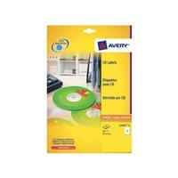AVERY Etiquetas Multimedia para CD/DVD Caja 25 hojas 117 mm Inkjet/laser blanco L7676-25, (1 u.)