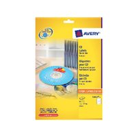 AVERY Etiquetas Multimedia para CD/DVD Caja 50 hojas 117 mm Inkjet/laser color foto L6043-25, (1 u.)