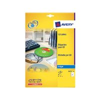 AVERY Etiquetas Multimedia para CD/DVD Caja 25 hojas 117 mm Inkjet mate J8676-25, (1 u.)