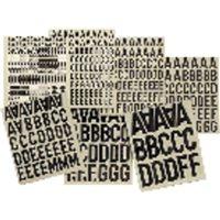 APLI Letras y números adhesivos 76 ud 50 mm Negro 4450, (1 u.)