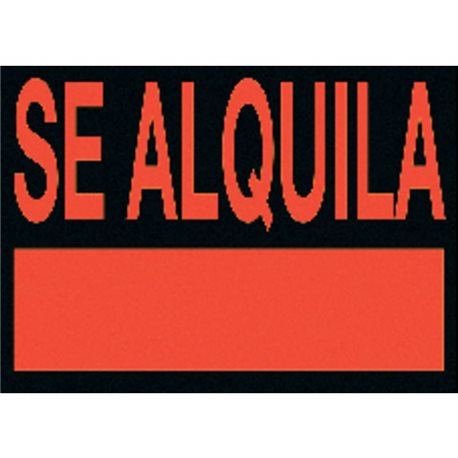 UNIPAPEL Cartel anunciador Se alquila 500x230 mm Naranja fosforescente y negro PVC    6163NE, (5 u.)
