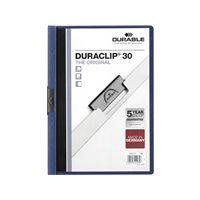 DURABLE Dossiers clip Duraclip Capacidad 30 hojas A4 Azul Oscuro PVC 2200-07, (25 u.)