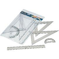FAIBO Set Serie escolar Estuche con regla, escuadra y cartabon y semicirculo 30cm 806, (1 u.)