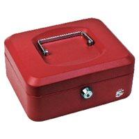 5 STAR Caja de caudales Acero 20x16x9 cm Rojo Cerradura con llave, (1 u.)