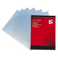5 STAR Dossier Caja 100 Folio Polipropileno Con uñero Transparente 80 micras 400005405, (1 u.)