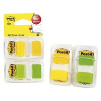 POST-IT® pack 2 x 50 index verde y amarillo 1 + 1 dispensador gratis 25,4 x 43,1 mm 70005040038, (1 u.)